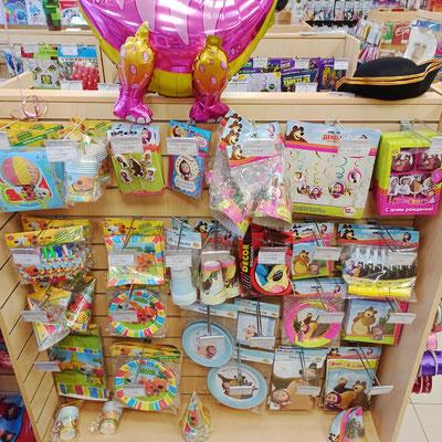 Товары для праздника в магазине Волшебник на Ямашева - коллекции Маша и Медведь и Ми-ми-Мишки