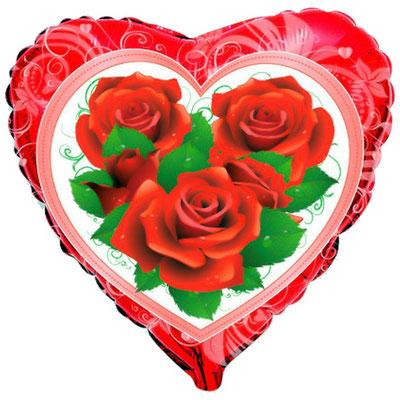 Воздушный шар на Женский день 8 марта , размер 18 дюймов, Розы #201001 купить в Казани