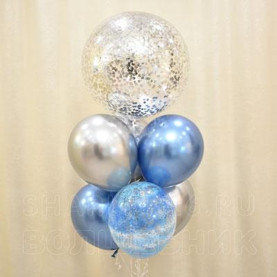 Серебряная композиция гелиевых шаров - купить в Казани