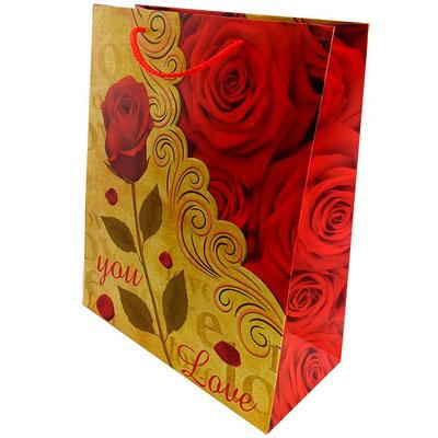 Пакет подарочный на 14 февраля, с рисунком Роза арт. 1362-2L купить в Казани