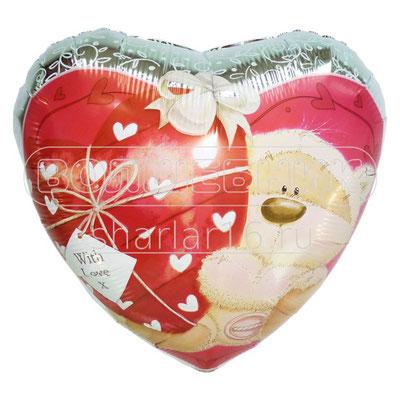 """Фольгированный воздушный шар CTI сердце 18"""" Мишка с сердечком с любовью купить в Казани"""