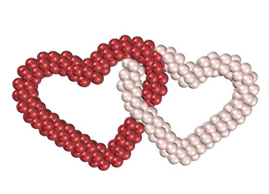 Сдвоенные сердца из воздушных шаров