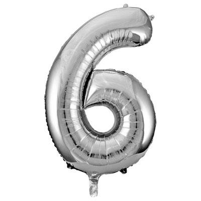 Фигура Весёлая Затея цифра 6 серебро, размеры 53*86 см, купить в Казани