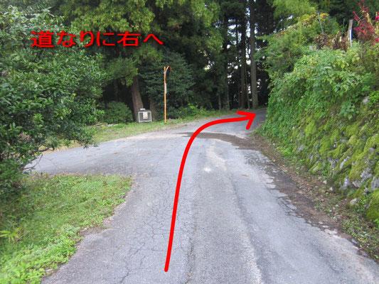 左前にゴミ置き場がある丁字路を道なりに右方向へ