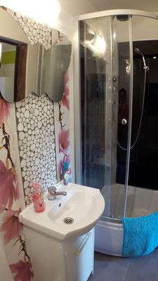 moderne Dusche mit Regenbrause und Hydromassage
