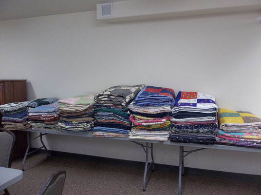Blanket sewing March 2015  Some of the 98 blankets made.