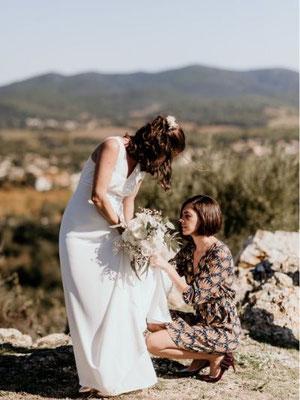 bouquet de mariée fleurs du var rose blanche