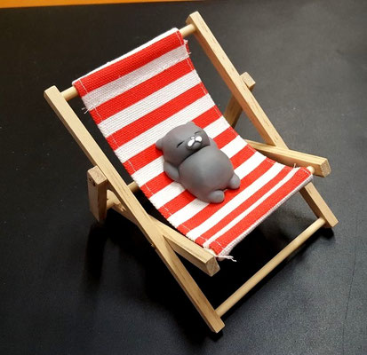 Don gato descansa en su hamaca después de las vacaciones.
