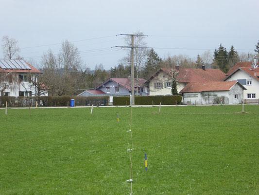 Profilmessung magnetischer Wechselfelder auf einem Grundstück, Datenlogger liegen im 5 m Abstand zwischen Bildmitte unten und Strommast im Hintergrund