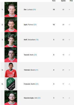 Besten SVW-Torschützen der Saison 2016/2017