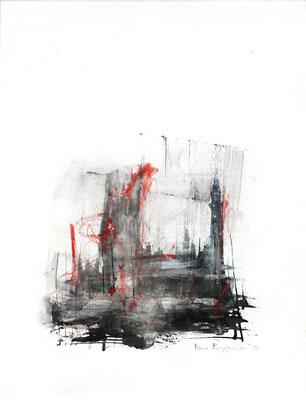 MOORLANDSCHAFT, 2018 –  Encre de Chine und Buntstift auf Papier, 40 x 29,7 cm (450 € ohne Versand