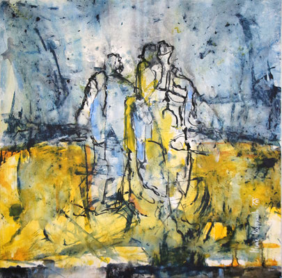 EIN LETZTER SPAZIERGANG, 2017 – Mixed media auf Leinwand, 80 x 77 cm (1200 € ohne Versand)