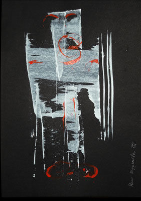 WÄCHTER, 2017 – Acryl, Aquarell auf  Canson, Black Paper, 240 g/m2,  42 x 29,7 cm (500 € ohne Versand)