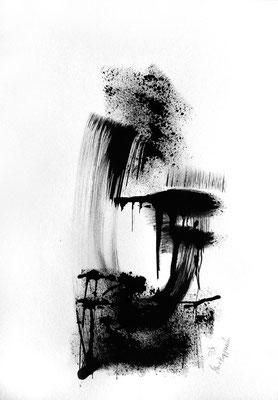 L'HEURE DES TEMPETES II, 2018 – Encre ce chine auf Papier, 42 x 29,7 cm (350 € ohne Versand)
