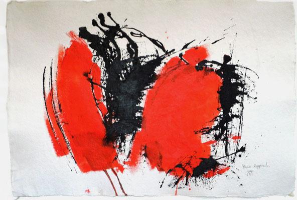 SCHLACHTFELD, 2017 – Aquarell, Acryl, Pigmente, Encre de chine auf handgeschöpften Büttenpapier, 68 x 98 cm (1000 € ohne Versand)
