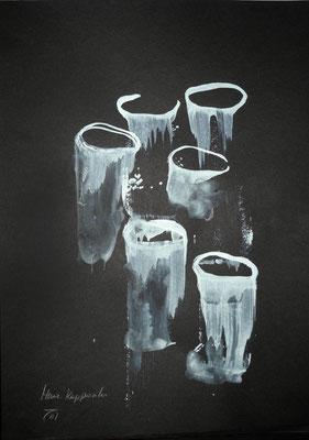 MÉDUSES II, 2017– Acryl auf Canson, Black Paper. 242 x 29,7 cm (350 € ohne Versand)