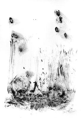RÉFLÉCHIR LA LUMIÈRE II, 2018 – Encre ce chine auf Papier, 42 x 29,7 cm (450 € ohne Versand)