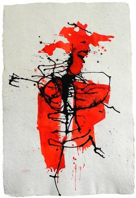 DER KRIEGER, 2017 – Aquarell, Acryl, Pigmente, Encre de chine auf handgeschöpften Büttenpapier, 98 x 68 cm (1200 € ohne Versand)
