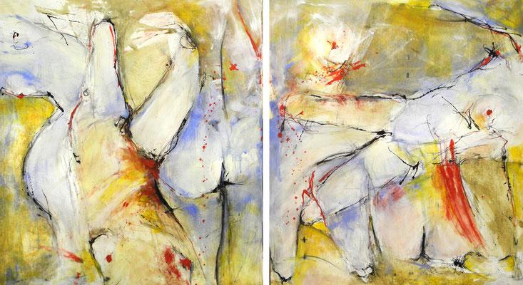 IN BEWEGUNG, 2017 – Diptychon, Acryl auf Leinwand 95 x 170 cm, (1200  € pro Bild ohne Versand)