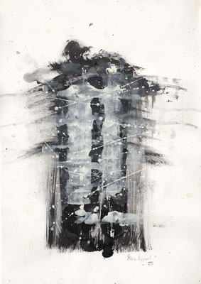SCHNEEGEISTER, 2017 – Encre de chine, Acryl auf Papier, 29,5 x 42 cm (250 € ohne Versand)
