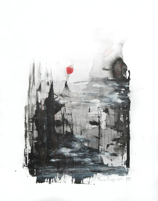 LANDSCHAFT MIT ROTEM MOND, 2018 –  Encre de Chine, Aquarell und Acryl auf Papier, 40 x 29,7 cm (450 € ohne Versand