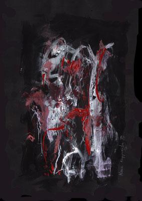 WIEDER ZU TAGE FÖRDERN I, 2017 – Mixed media auf Canson, Black Paper. 242 x 29,7 cm (400 € ohne Versand)