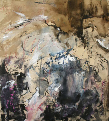 ROTE FÄDEN, 2017 – Mixed media auf Leinen (ungespannt) 99 x 90 cm (Leinen 160 x 110 cm) (1650 € ohne Versand)