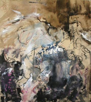 ROTE FÄDEN, 2017 – Mixed media auf Leinen (ungespannt) 99 x 90 cm (Leinen 160 x 110 cm) (nicht mehr verkäuflich)