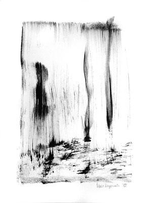 RÉFLÉCHIR LA LUMIÈRE I, 2018 – Encre ce chine auf Papier, 42 x 29,7 cm (450 € ohne Versand)