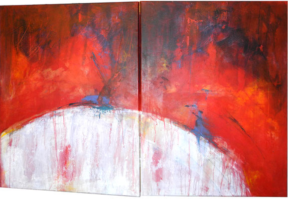 DER TRAUM VOM MOND, 2018 – Diptychon, Acryl auf Leinwand, 80 x 121 cm,   (1600 € ohne Versand)