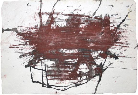 EISENOXID, 2017 –  Eisenoxid und Tusche auf handgeschöpften Büttenpapier, 68 x 98cm (1020 € ohne Versand)