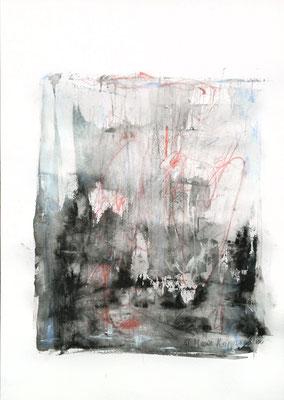 STURM, 2018 –  Encre de Chine, Aquarell, Buntstift auf Papier, 40 x 29,7 cm (450 € ohne Versand