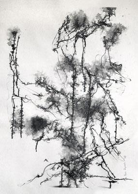 L'ESPRIT DU SILENCE (Die innere Stille), 2018 – Encre de chine auf Papier, 70 x 50 cm (750 € ohne Versand)