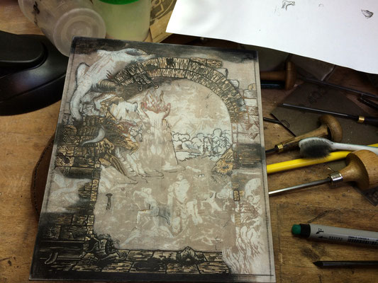 Holzstich, Illustration zu Dante Alighieris Göttlicher Komödie