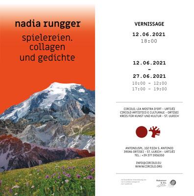 """Nadia Rungger: Ausstellung """"spielereien. collagen und gedichte""""."""