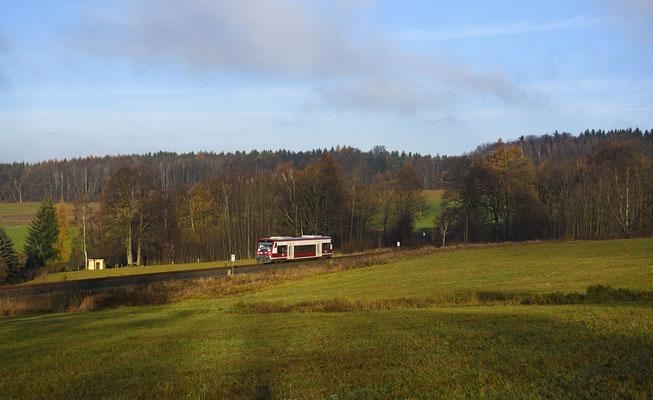 Etwa ein Jahr lang wird er zu Gast sein, Grund sind die anstehenden Untersuchungen aller Desiros der Städtebahn. Hier wieder bei Krumhermsdorf in Richtung Sebnitz, Ende November.
