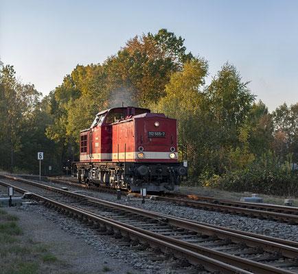 In Neustadt wurde wieder rangiert, 86 1333 sollte wieder Zuglok nach Pirna sein. 112 565 setzt sich an den Zugschluss. 13.10.18
