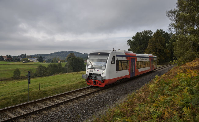 VT 515 (Gastfahrzeug der Citybahn Chemnitz) von Neustadt nach Sebnitz bei Krumhermsdorf. Oktober 2017.