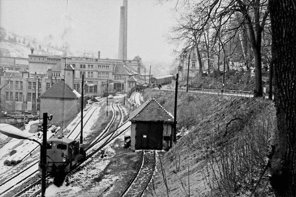 Bis zum Ende des zweiten Weltkrieges war hier die Sebnitzer Papierfabrik ansässig. Blick auf die Gleisanlagen des Betriebes mit Werkslok der Baureihe 101.