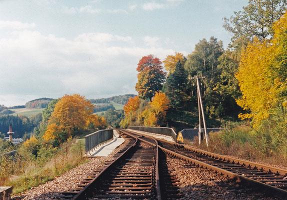 Bereits auf dem Hainersdorfer Viadukt zweigte die Weiche ins Abus Werk ab.