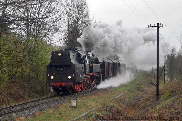 Anlässlich der Sebnitzer Blumentage 2008 gab es diesen kleinen, aber feinen Sonderzug mit 65 1049-4, nur das Wetter spielte leider nicht mit, der Zug befindet sich hier bei Pirna-Copitz, 19.04.2008, Foto: Hans Peter Waack
