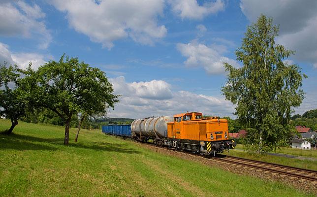 Später konnte der Zug erneut bei Taubenheim abgelichtet werden, Juni 2015.