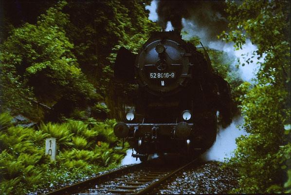 An einen verregneten dunklen Sommertag im Jahr 1987 kommt der Nahgüterzug 65277 aus Bischofswerda die Steigung von Putzkau herauf . Die Lok hatte schwarze Pufferbohle und schwarzes Fahrwerk. 1 Jahr später wurde sie z-gestellt. Foto: Lutz Morgenstern