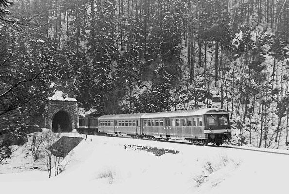 V 100 mit Leipziger Wendezugeinheit am Tunnel 3.