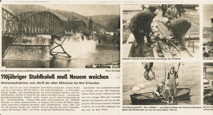 Ausschnitt der Sächsischen Zeitung am 02.05.1986 zum Abriss der alten Elbbrücke bei Bad Schandau. Danke an Lutz Morgenstern!
