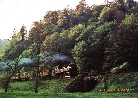 Zug am Schwarzberg, von der Buttermilchmühle aus gesehen, 1960. Text & Foto: Archiv Axel Förster, digitale Aufbereitung: J. Vogel