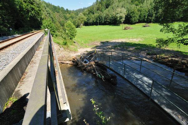 Ein paar Meter weiter: Auch hier sind Wanderweg und Brücken beschädigt. 20.08.10
