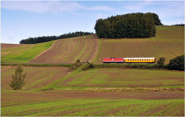 Messzug Neustadt / Sachsen - Pirna mit U-Boot 302 der MEG bei Langenwolmsdorf. ISO 100, BW 50mm, F/6.3, 1/500sek. 27.09.2012