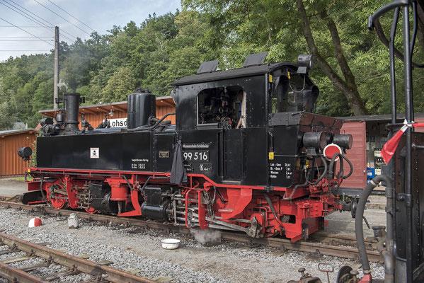 99 516 übernahm im Jahr 2020 die Beförderung der Züge. Somit waren erstmals zwei Dampflokomotiven in Lohsdorf zu Gast. 04.09.2020