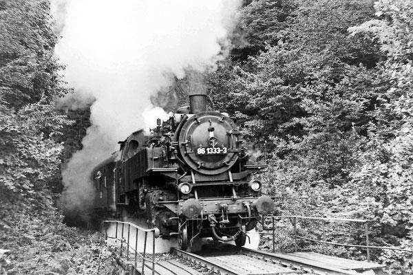 86 1333 mit Sonderzug dampft aus Tunnel 3.